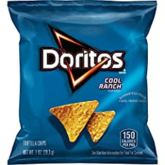 Pack of 40 one ounce bags Doritos tortilla chips with classic cool ranch flavor Made of whole corn