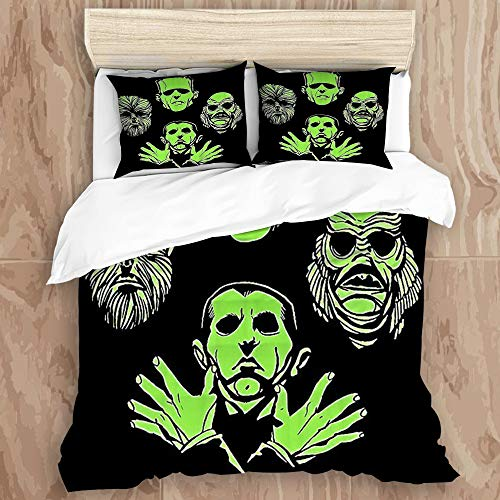 YZBEDSET 3 Pieces Duvet Cover Set,Halloween Mummy Vampire Werewolf,Printed Bedding Duvet Cover with Zipper Closure Soft Microfiber Quilt Cover King Size-230 * 200cm