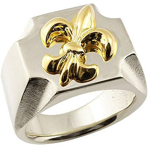 [アトラス] Atrus リング メンズ pt900 プラチナ 18金 イエローゴールドk18 ユリの紋章 印台 幅広 指輪 15号
