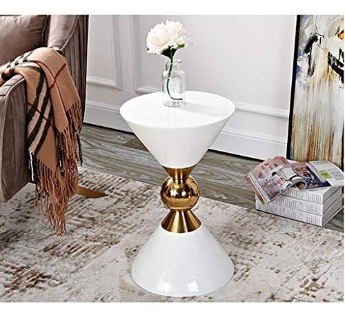 YWXCJ Tables Basses Salon créatif Petite Table Basse Simple Mini Table Basse Moderne en Fer forgé Loisirs Petite Table Ronde (Couleur : Blanc, Taille : 320x530mm)