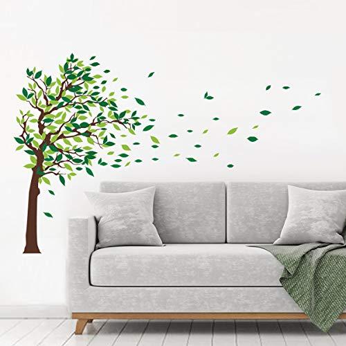decalmile Wandaufkleber Baum Wandsticker Grüne Blätter Wohnzimmer Schlafzimmer Wanddeko (L, Grün, Richtig)