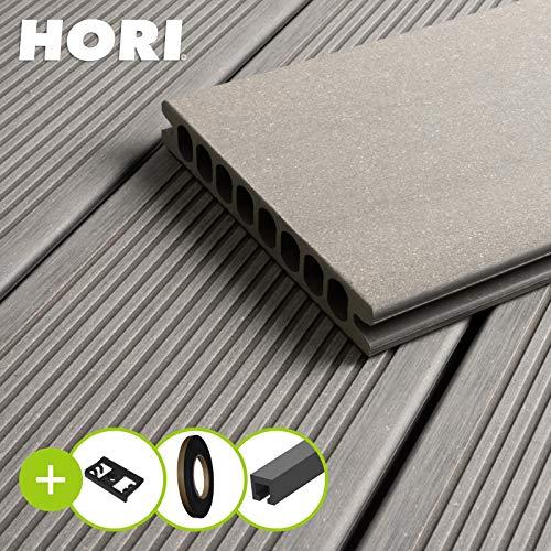 HORI® WPC-Terrassendiele Royal Hellgrau Hohlkammer I Komplettset inkl. 45x45 mm Unterkonstruktion & Clips I Fläche: 5 m² I 3,00 m Dielenlänge