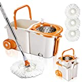 MASTERTOP Spin Mop Bucket System with Wringer Set - Floor Mop Stainless Steel Mop Handle, Mop Buckets Separate Clean and Dirty Water, 3 Replacement Microfiber Mop Head, Cleaning Bucket Easy to Store