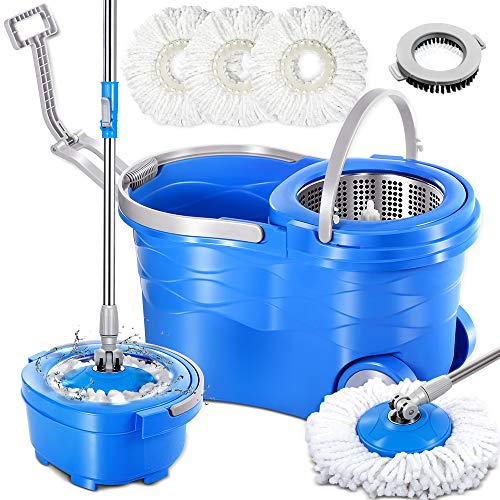 Masthome 360 Spin Mop and Bucket System with 3 Reusable Microfiber Mop Heads and 1 Cleaning Brush Spining Mop Bucket Set with Wringer on Wheels and Collapsible Handle