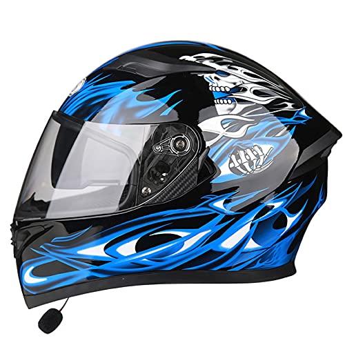 Casco de Motocicleta con Bluetooth con un Micrófono Incorporado Doble Visera Anti Vaho a Prueba de Viento para Adultos Hombres Mujeres ECE/DOT Homologado B,XL=60~61CM