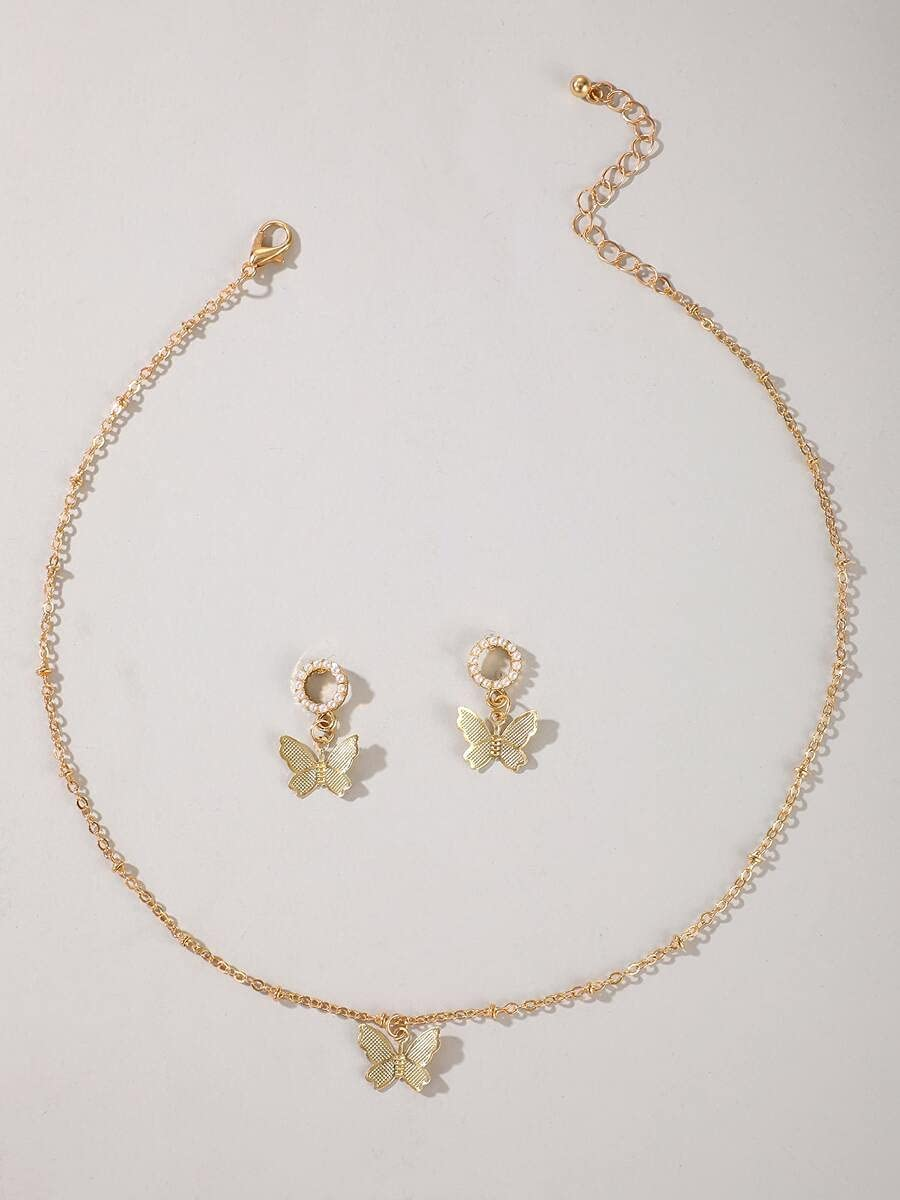LND Gifts Jewelry Sets 1pc Butterfly Pendant Necklace & 1pair Earrings (Color : Gold)