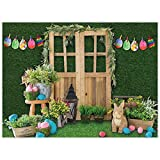 Allenjoy 8x6ft Fabric Green Spring Easter Backdrop Supplies for Professional Photography Hare Rabbits Decoartions Colorful Eggs Studio Children Cake Smash Portrait Pictures Photoshoot Props Favors