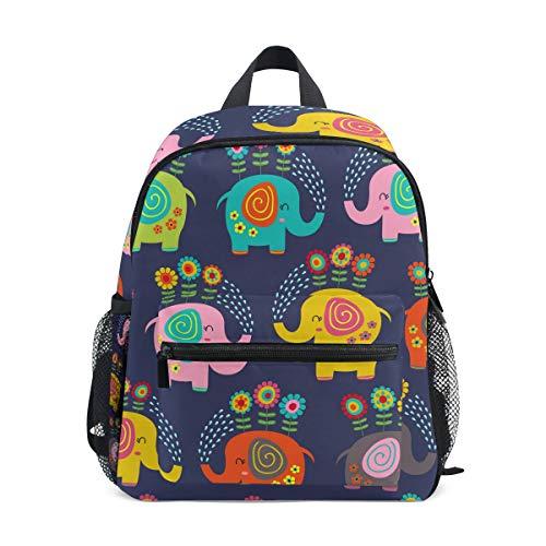 Mochila para niños con diseño de flor de elefante, ideal para la escuela o viajes
