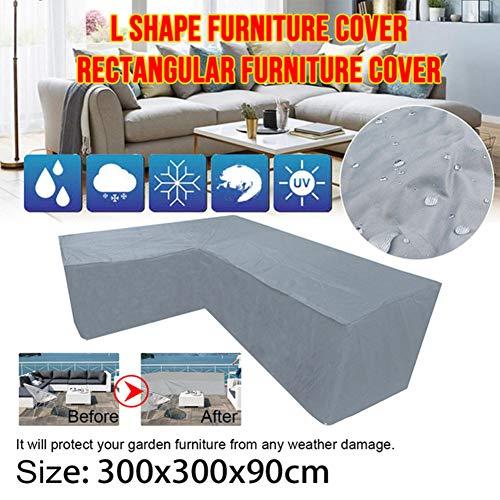 Funda para sofá en Forma de L/V, 210D Oxford Impermeable Anti-UV a Prueba de Polvo Cubierta de Sofá con Cuerdas de apriete en la Parte Inferior,300x300x90cm
