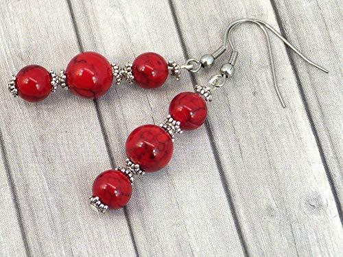 Pendientes colgantes de acero inoxidable con cuentas rojas turquesas reconstituidas
