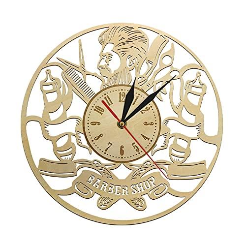 Reloj de Pared Peluquería Reloj de Pared Barbero Respetuoso del Medio Ambiente Peluquería Natural Letrero Decoración de Pared Idea de Regalo Creativa para peluqueros y estilistas de Belleza