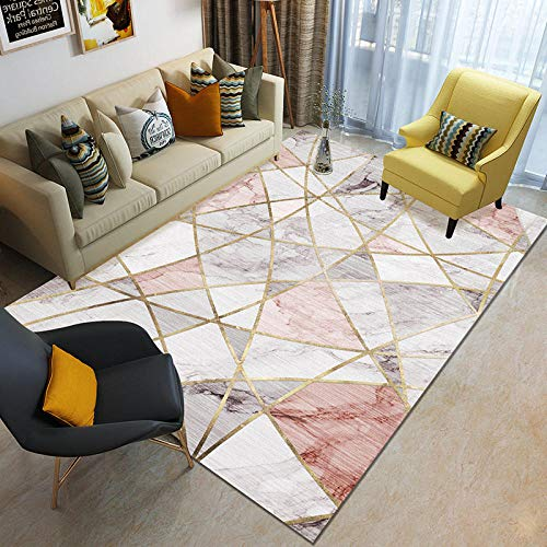 HXJHWB Alfombras Habitación Grande Pequeño Rectangular Tamaño - sala de estudio exquisita alfombra de impresión de mármol, impresión 3D pelo corto fácil cuidado - 160CMx230CM