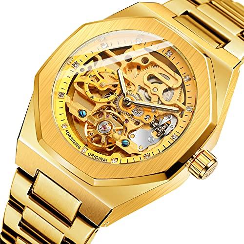 ZFAYFMA Reloj automático, Metal Army Tourbillon acero inoxidable Steampunk Hollow reloj mecánico hueco para hombre reloj mecánico hueco oro rosa
