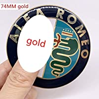 2 個 7.4 センチメートルフルクローム色アルファロメオ車のロゴエンブレムバッジステッカー水戸ための 147 156 159 166-gold