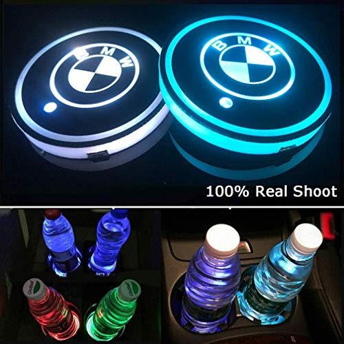 for BMW LED Cup Holder Lights,FBA Fast Delivery, Car Logo Coaster Lights with Multiple Colors, USB Charging Pads, Luminous Coaster Indoor Atmosphere Lights Decorative Lights (2 Pcs)