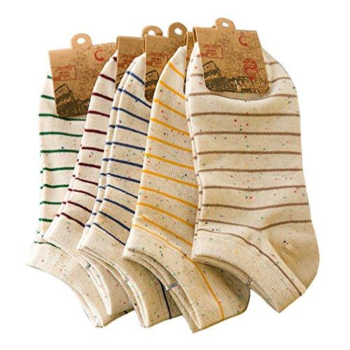 Amorar Damen Streifen Baumwoll Socken Mädchen Sneaker Socken Füßlinge Shallow Mund Socken...