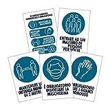 Pack 5 cartelli adesivi Covid 19 blu Regole di sicurezza - Dimensione 13,5x20 cm - Kamiustore