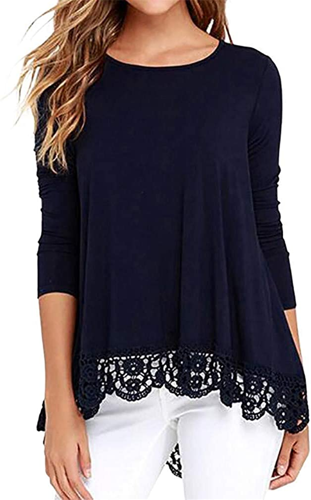 WANQUIY Women Tops and Blouses Lace Long Sleeve Casual Blouse Loose Pullover Tops T-Shirt