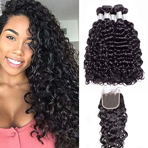 """Maxine 10A Grade Brazilian Water Wave 3 Bundles Uprocessed Virgin hair with 4""""4"""" lace closure three part Wet and Wavy Human Hair Extensions (20 22 24"""