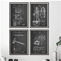 DLFALG 消防士のギフト消防士のキャンバスのポスターとプリント消防士の消防士のトラック黒と白の写真壁アート絵画家の装飾-40x50cmx4フレームなし