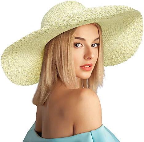 Women Beach Sun Straw Hat Wide Brim Summer Travel Floppy Packable Cap UPF 50 product image