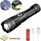 WINDFIRE LED Flashlight High Lumens Brightest Light with XHP-50 LED, USB Rechargeable Flashlight with Power Indicator Zoomable Flashlight Water Resistant Outdoor Emergency Lights &Rechargeable Battery