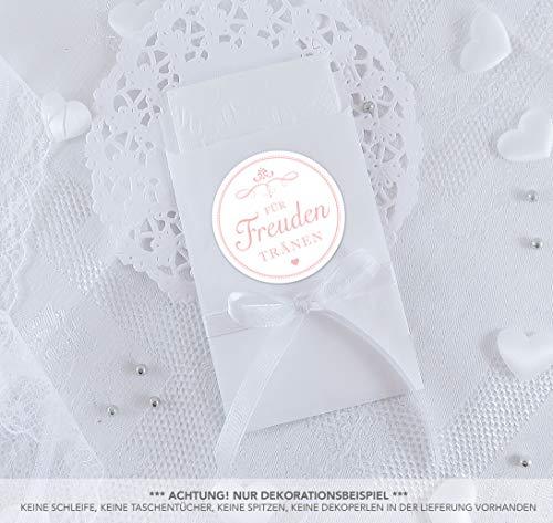 Freuden Tränen Taschentücher Set zur Hochzeit Groß 48 Sticker + 48 weiße Flachbeutel - 63 x 93 mm für Freudentränen Taschentuch Verpackungen Aufkleber WEIß ROSA ORNAMENTE