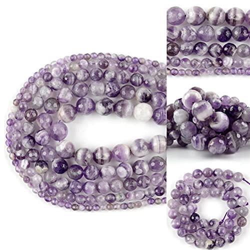 SAIYI 4-12mm Natural facetado Dream Amatista Piedra Separador Suelto Perlas Redondas para joyería Hacer Pulseras de Bricolaje Collar Costura 15' (Color : 10mm 37PCS Beads)