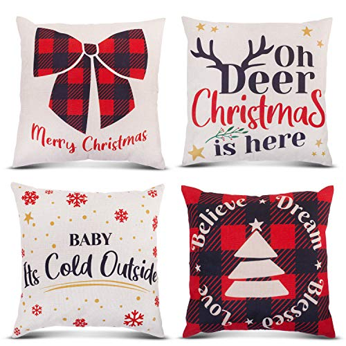 Christmas Pillow Covers 18x18 Set of 4 for Your Pillows - Cute Christmas Throw Pillow Covers 18x18 for The Holidays - Decorative Christmas Pillows Covers for a Seasonal Theme
