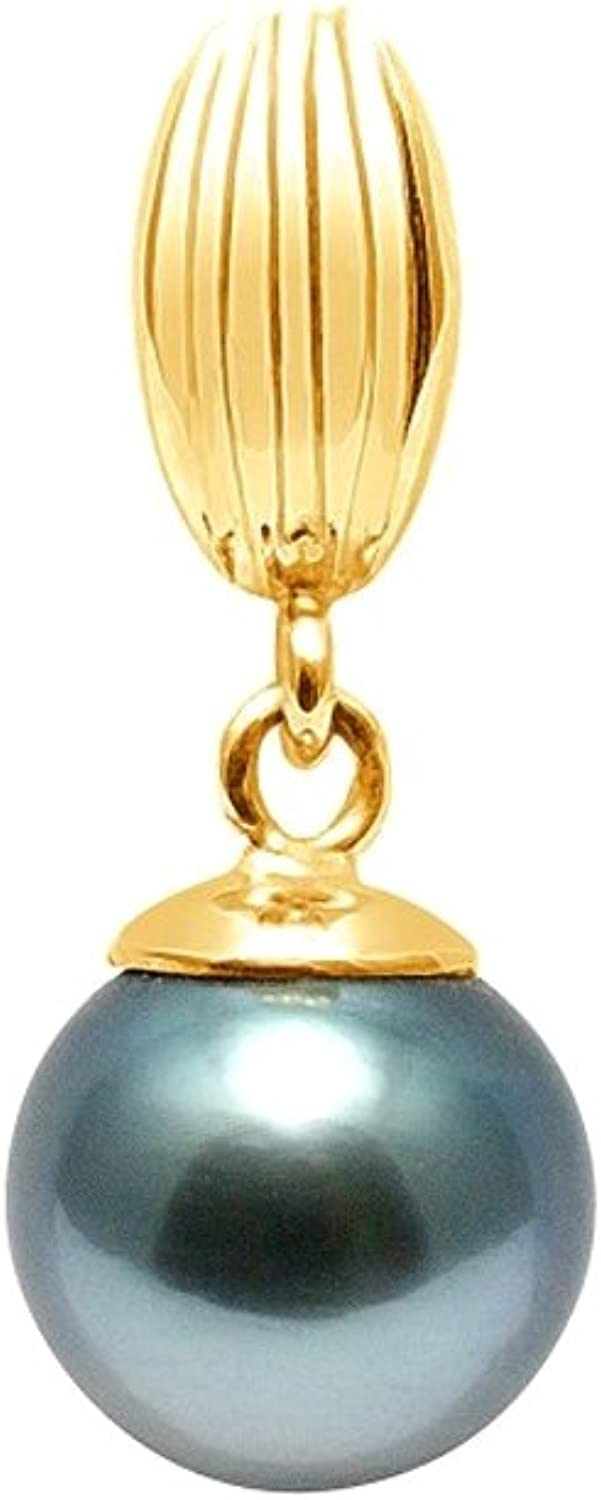 Black Tahitian Pearl Pendant and Yellow gold 375 1000 BPS K240 W  bluee Pearls