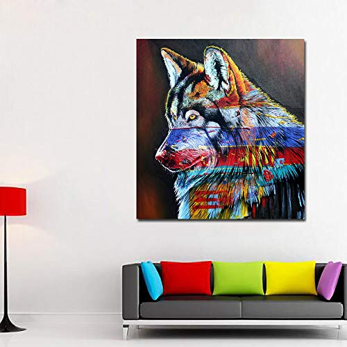 N / A Rainbow Color Wolf Painting Canvas Art Painting Printing Poster Wall Picture Living Room Bedroom Home Decoration Frameless 40x40cm