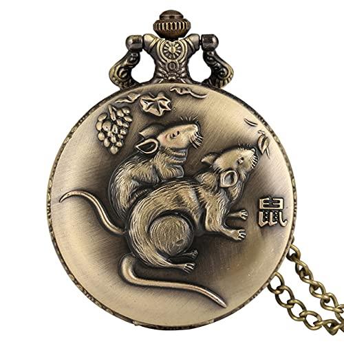 SSJIA Diseño Retro del Zodiaco Chino Reloj Colgante de la Suerte Collar de Bronce Reloj Cadena-Rata