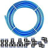 Tailonz Pneumatic Blue 3/8 Inch od 10 Meters PU Air Tubing Kit Pipe Hose Air Line Tubing Or Fluid Transfer Pneumatic tubing (3/8 PU Tube)