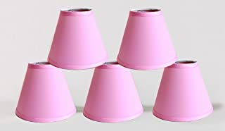 Urbanest Set of 5 Satin Chandelier Lamp Shade, 3-inch by 6-inch by 5-inch, Pink, Clip-on, Hardback