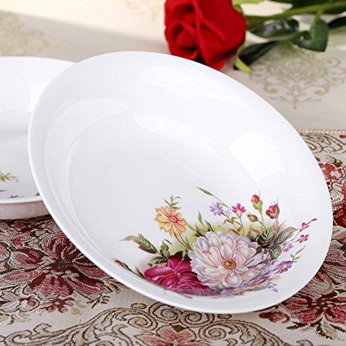 YUWANW Han Tang Assiette en porcelaine blanche de 20,3 cm avec de belles fleurs