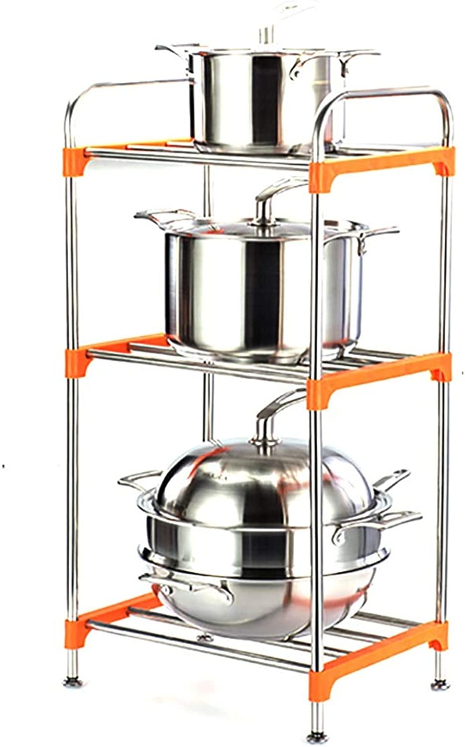 Stainless Steel Multi-Layer Square Kitchen Rack, Floor Corner Rack Storage Place Pot Rack Storage Rack Supplies Pot Rack, 4 Sizes (Size   42  31  79cm)