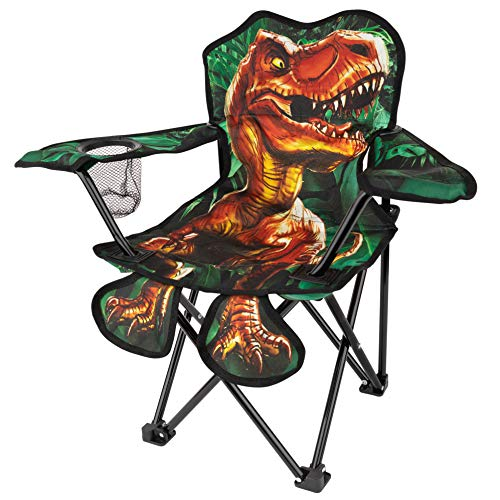Toy-To-Enjoy Outdoor Dinosaur Chair for Kids – Foldable Children's Chair for Camping, Tailgates, Beach, – Carrying Bag Included Mesh Cup Holder & Sturdy Construction. Ages 5 to 10 (Patent Pending)