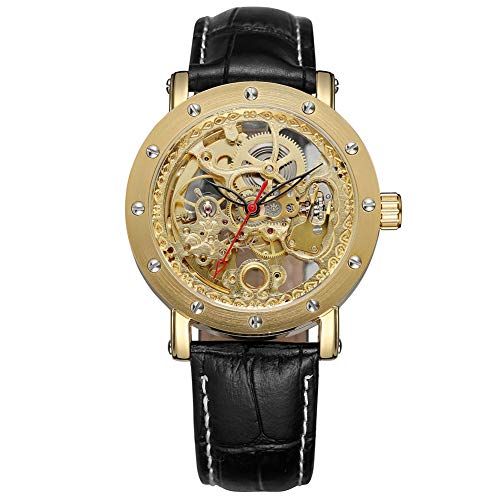 GJHBFUK Reloj de Hombre Hueco Mecánico Impermeable PU Cuero Reloj Puntero Reloj Casual Correa Negra Dial Dorado