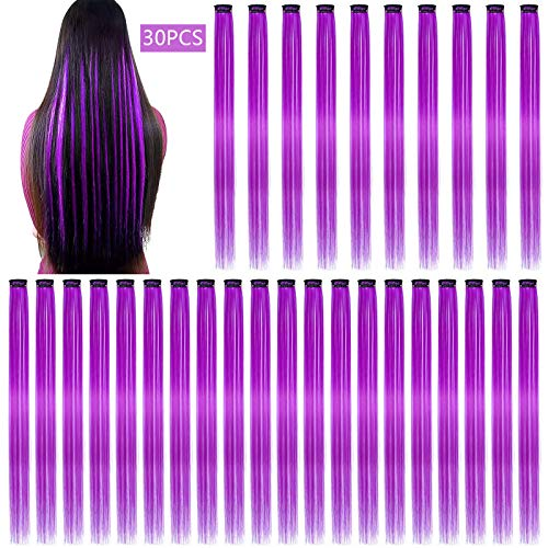 30PCS Color Straight Hair Extensions Clip in 20 Inch Purple Synthetic Clip in Hair Extensions Cosplay Party Highlights Synthetic Clip in Long Hairpiece for Women Girls Kids Gift (Purple)
