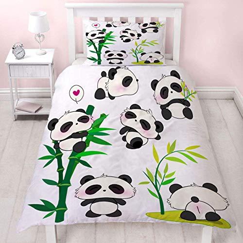 MUSOLEI Kinder-Bettwäsche-Set für Jungen/Mädchen, 3D-Druck, Steppdeckenbezug-Sets mit Kissenbezug, Verdeckter Reißverschluss, 3D Bettwäsche Tiere, Polyester, Panda und Bambus, 140 x 210 cm