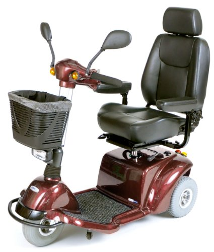 Best Review Of Drive Medical Pilot 3-Wheel Power Scooter, Burgundy, 20 Inch