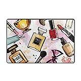 ZHENG Alfombrilla de baño,Girly Acuarela Cosméticos Perfumes Lápiz Labial Esmalte de uñas Cepillo Alfombra de baño 75cmx45xm
