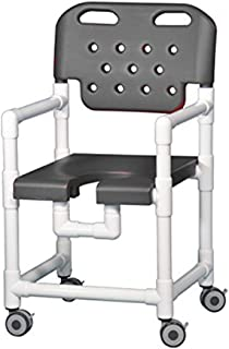 IPU ELT817 Elite Rolling Shower Chair for use over Toilet and in the Shower in gray