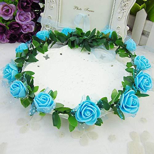 ASDFGH Couronne De Fleurs en Mousse Roses Coiffe Accessoires De Bande De CheveuxTêTes De DéCor De Mariage Romantique Prendre Po, 9
