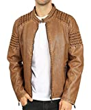 Men's Stand Collar Faux Leather Jacket Pu Vintage Motorcycle Winter Jackets