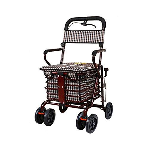 S-L-C Elderly Scooter Plegable Asiento de la cesta de la compra puede tomar cuatro rondas para comprar alimentos para ayudar a empujar un carro tirón pequeño carrito de ancianos ( Color : B-Red )
