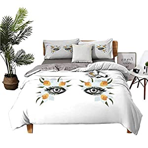 DRAGON VINES 4 Bedding Cover Set TwinSizeBed Silk Sheets Look of Spring Photorealistic Eye Artistic Makeup with Flowers Narcissus Bed Sheets King Size Deep Pocket Apticot Green Black W104 xL90