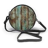 BAODANLA Bolso redondo mujer Women's Round PU Leather Crossbody Purse Shoulder Handbag Distressed Wood Plank Circle Tote Hobo Bag For Girls Sling Bag
