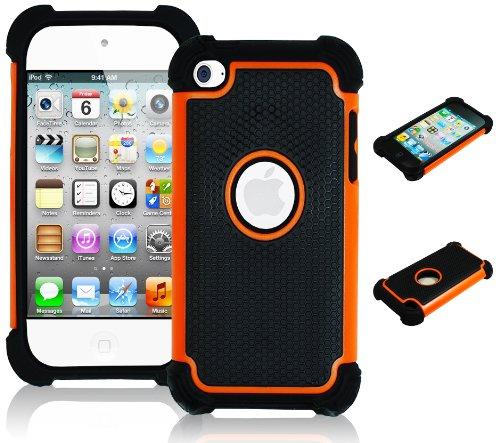 Bastex Heavy Duty Rugged Hybrid Case for Touch 4, 4th Generation iPod Touch - Black Silicone / Orange & Black Hard Shell