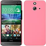 PhoneNatic Hülle kompatibel mit HTC One E8 - Hülle rosa gummiert Hard-case + 2 Schutzfolien